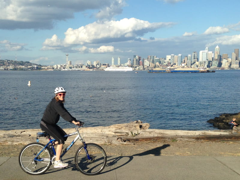 Laura Vanderpool riding her bike along the waterfront in Seattle. (Photo courtesy of Laura Vanderpool)