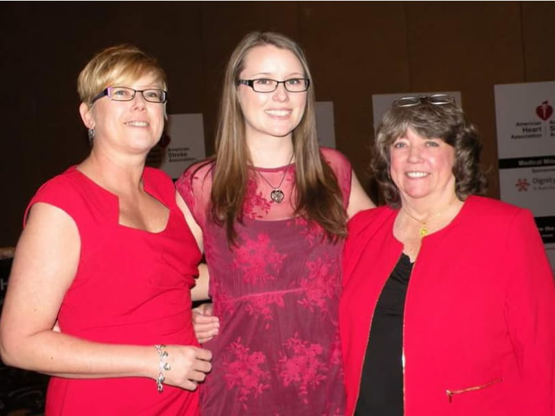 Cardiac arrest survivor Melanie Baldwin (left), with daughter and mother.