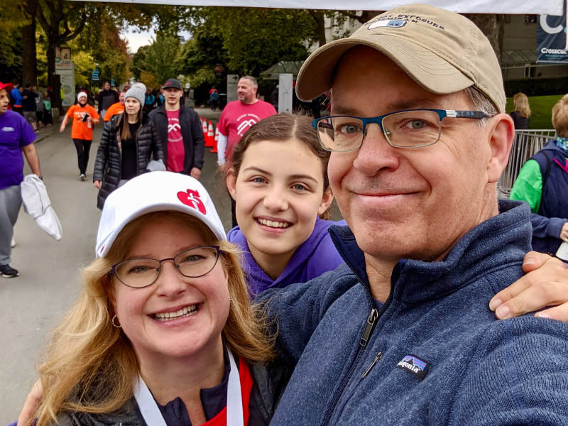 Stroke survivor Stephanie Gerding (left) with her husband, Patrick, and daughter, Madeline, in 2019. (Photo courtesy of Stephanie Gerding)