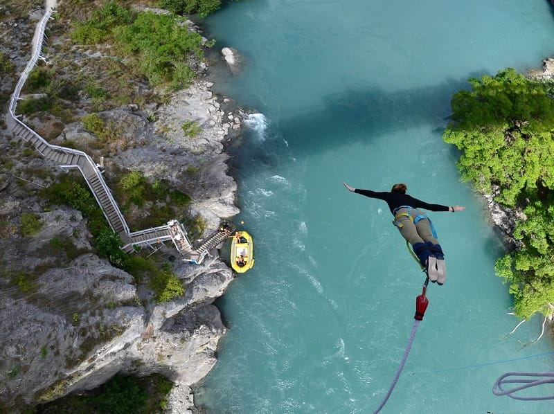 Cat Oyler bungy-jumping. (Photo by AJ Hackett Bungy New Zealand)