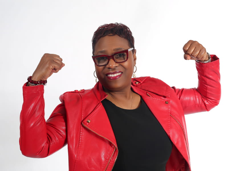 Heart attack survivor Roslyn Harvey poses for a photo featured in the 2020 St. Louis Go Red for Women campaign.  (Photo by Mena Darre Photography)
