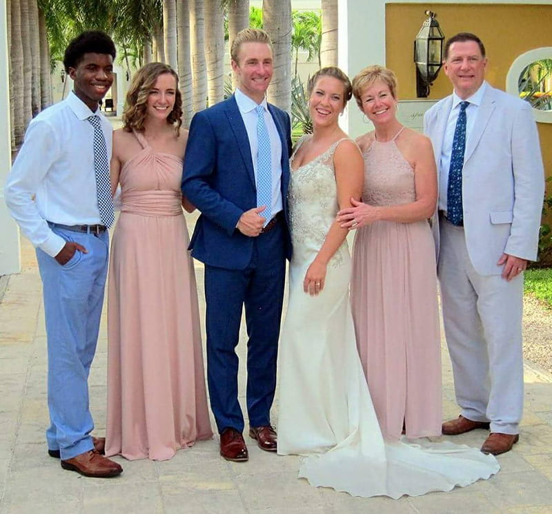 Mark Larson with family in 2017 at his son's wedding. From left: Son Davion, daughter Carley, son Wayne, daughter-in-law Arynn, wife Nancy and Mark. (Photo courtesy of Mark Larson)