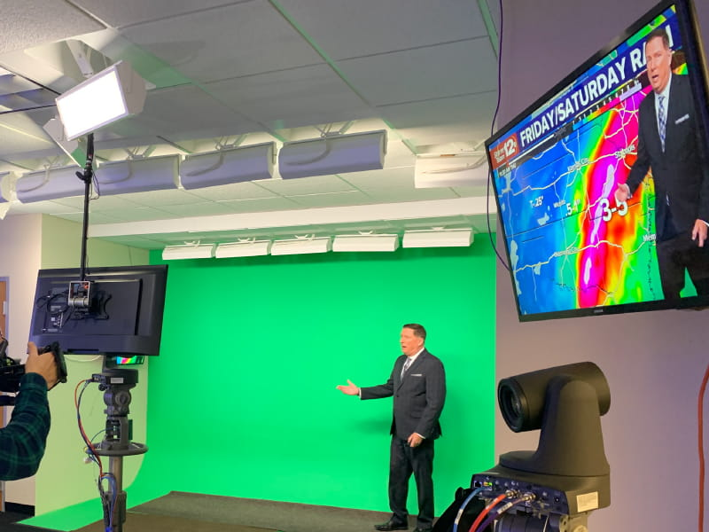 Meteorologist Mark Larson giving a weather report at KWCH in 2020. (American Heart Association)