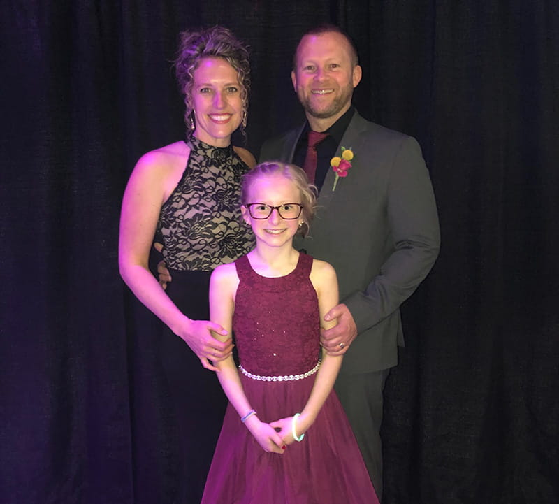 Abrielle Tallquist with her parents, Jennifer and Patrick, at the 2019 American Heart Association Heart Ball in Grand Rapids. (Photo courtesy of the Tallquist family)