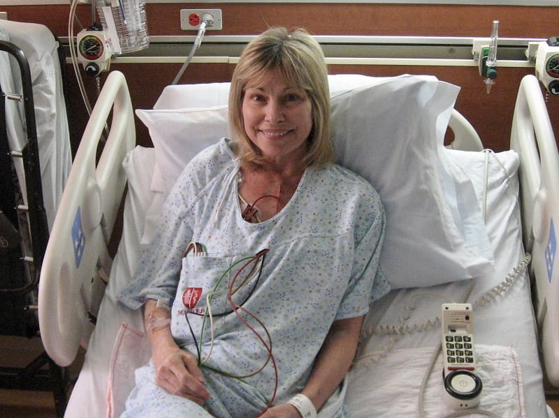 Cheryl Murdock a few weeks after her heart transplant surgery, recovering at Stanford Medical Center. (The photo was taken April 19, 2010. Her surgery was March 30, 2010)
