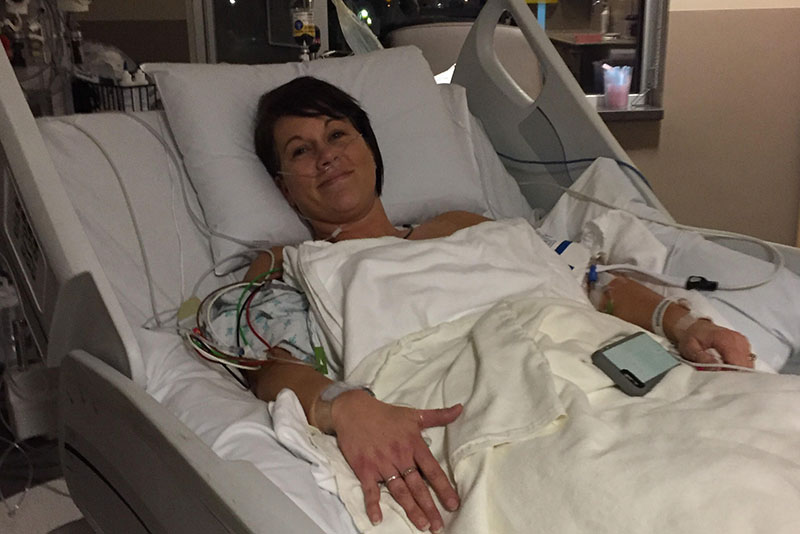 Kelly Kleiner at Stormont Vail Hospital after surgery in December 2016. (Photo courtesy of Kelly Kleiner)