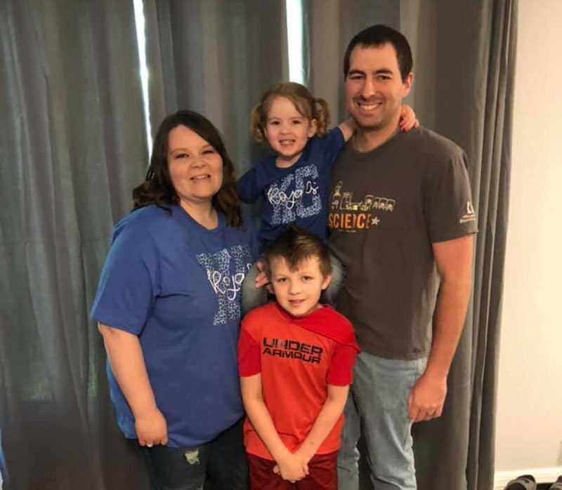 Zach Nelson with his family at their home in Kansas, from left: Wife Leah, son Drew, daughter Taya and Zach. (Photo courtesy of Zach Nelson)