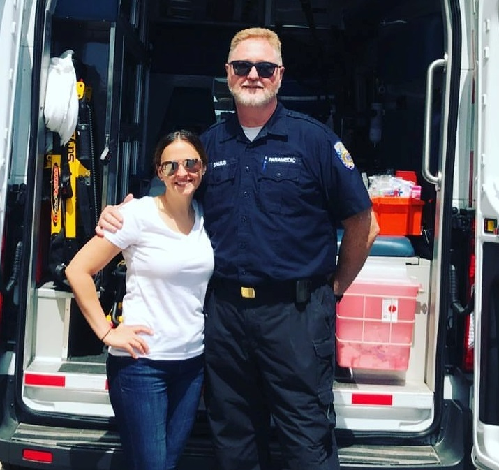 Amy Cavaliere and the paramedic who treated her when her heart stopped.  (Photo courtesy of Amy Cavaliere)