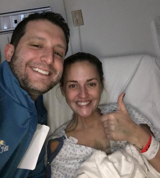 Amy Cavaliere and her husband, after she was hospitalized for spontaneous coronary artery dissection. (Photo courtesy of Amy Cavaliere)
