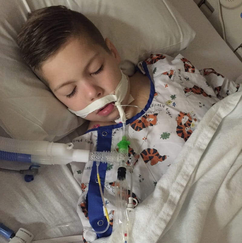 Gavin Kuykendall, recovering from a heart procedure in 2016.