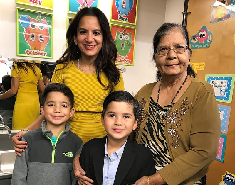 Dr. Svati Shah with her mother Jyotsna Shah and sons Kieran and Kellan. (Photo courtesy of Dr. Svati Shah)