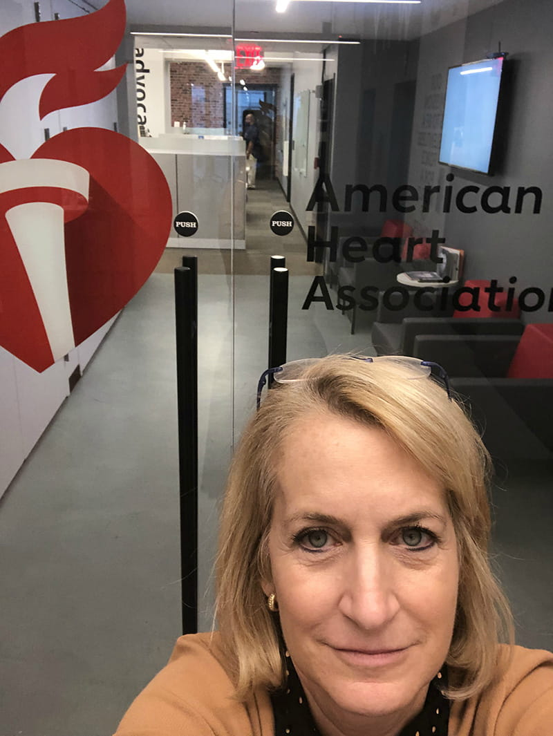 Stacey in front of the AHA's New York office. (Photo courtesy of Dr. Stacey Rosen)