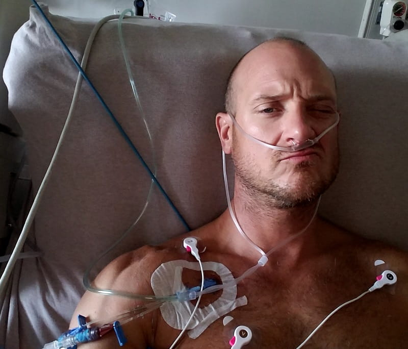 John Hoerster recovering from a cardiac arrest. (Photo courtesy of Hoerster family)