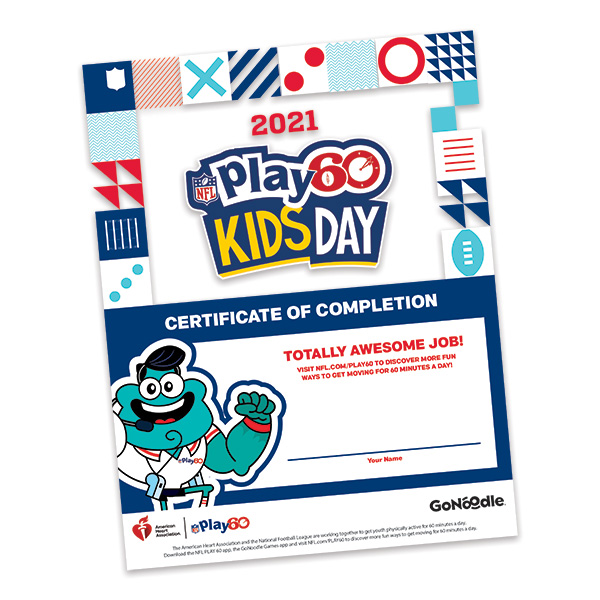 NFL Kids Day Certificate of Completion