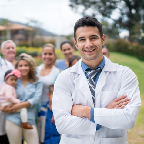 doctor with family