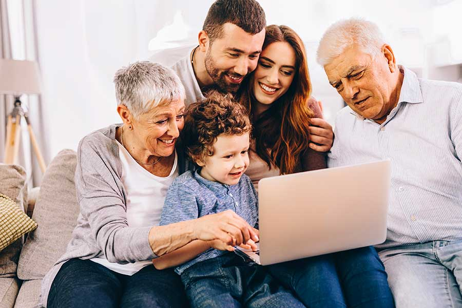 Family around a computer