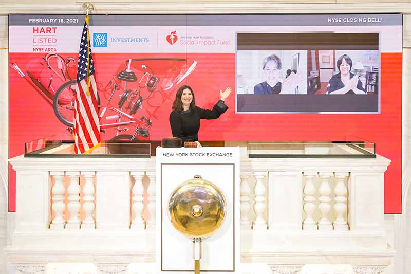 virtual closing of the bell on Feb. 18, New York Stock Exchange President Stacey Cunningham joined Yie-Hsin Hung, CEO of New York Life Investment Management, and Dr. Regina Benjamin